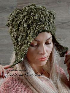 Купить Валяная шапочка с ушками - коричневый, валяная шапка, креативная шапка, олива, шапочка валяная