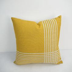 Linen Cotton Pillow Cover Heavy Weight Linen Cotton printed Geometric design in Yellow color. # Item listed price is for ONE piece Pillow /… Large Cushion Covers, Yellow Pillow Covers, Outdoor Cushion Covers, Yellow Pillows, Sofa Cushion Covers, Throw Pillow Covers, Decorative Cushions, Decorative Pillow Covers, Geometric Pillow