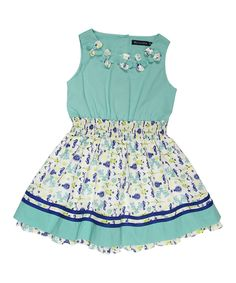 Look at this #zulilyfind! Periwinkle Teal Fish Flower Dress - Toddler & Girls by Periwinkle #zulilyfinds
