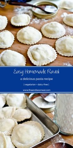 Easy Homemade Ravioli This delicious Homemade Ravioli recipe is easier than you might think, and so much tastier than any pasta you can buy in a store. Plus you don't even need a pasta maker! Pastas Recipes, Homemade Pasta Recipes, Homemade Pasta Dough, Homemade Food, Yummy Recipes, Dinner Recipes, Vegetarian Recipes, Cooking Recipes, Cooking 101