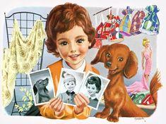 """Martine fait ses courses"": Illustrations by Marcel Marlier – Hotdog Dog, Norman Rockwell Art, Little Marcel, Kids Story Books, Children's Book Illustration, Book Illustrations, Gif Animé, Dachshund Love, Cute Drawings"