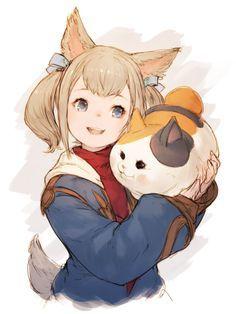 Image result for Miqo'te children have big ears Cat Character, Game Character Design, Character Creation, Character Design Inspiration, Character Concept, Manga Anime, Anime Neko, Kawaii Anime, Anime Art