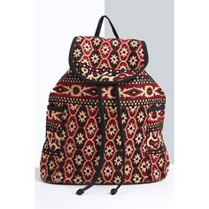 Boohoo Megan Jacquard Rucksack (€27) ❤ liked on Polyvore featuring bags, backpacks, multi, cross body, red backpack, evening bags, red cross body bag and shopper handbags