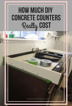 Concrete Countertop How much do DIY counters cost? Here's a break down along with a supply list and sources to make your own concrete countertops! Cost Of Concrete Countertops, Outdoor Kitchen Countertops, Countertop Materials, Granite Countertops, Concrete Cost, Stained Kitchen Cabinets, Kitchen Windows, Outdoor Kitchen Design, Cool House Designs