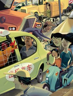 Nigel Buchanan - China Driving - Asia - Lifestyle - Culture - Travel - http://www.folioart.co.uk/illustration/folio/artwork/china-driving/