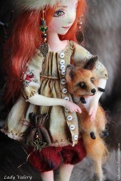:: Crafty :: Doll :: Clothes :: Коллекционные куклы ручной работы. Лютик(Резерв). Lady Valery. Ярмарка Мастеров. Куклы и игрушки, русский стиль, лён, бисер