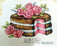 Flower Cake Cross stitch pattern leaflet. Big Chart. SODAstitch SO-G86 w 110count × h 254count  - Only patterns. Fabric, thread, needles, cushions, frames, etc. are not included. - Contains color chart with symbols and Floss conversions for DMC, ANC, Yeidam.  - A new leaflet never used - It come from a smokefree home. - Manufactured in Korea. SODA stitch Product.  We are the official retailer of SODAstitch. We do not sell copies. We Sell only original design.