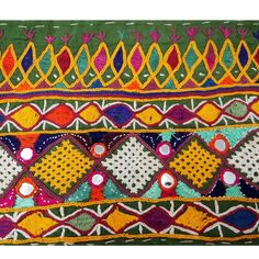 border fragment from kutch Embroidery Neck Designs, Embroidery Stitches Tutorial, Hand Embroidery Flowers, Hand Work Embroidery, Indian Embroidery, Cross Stitch Embroidery, Embroidery Patterns, Cultural Patterns, Kutch Work Designs