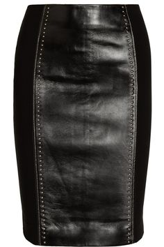 Versace|Studded leather and jersey pencil skirt