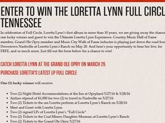 Trip to nashville tn sweepstakes
