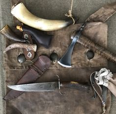 Hawk, Knife, Horn, Haversack and other Accourterments Bushcraft Kit, Black Powder Guns, Man Gear, Longhunter, Powder Horn, Long Rifle, Fur Trade, Mountain Man, Knives And Swords