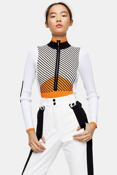 Topshop Orange Knitted Layering Bodysuit by SNO Ski Fashion, Fashion Trends, Topshop Style, Suit Prices, Metallic Blouses, Athleisure Trend, Boiler Suit, Professional Outfits, Black Skinnies