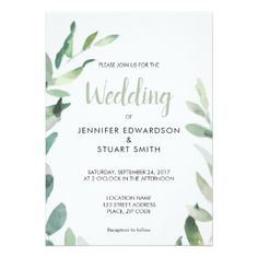Modern botanical watercolor olive branch Wedding Card - winter wedding cyo marriage wedding party gift idea