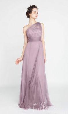 Elegant Long Tulle Illusion One Shoulder Bridesmaid Dress TBQP405#wedding #weddinginspiration #bridesmaids #bridesmaiddresses #bridalparty #maidofhonor #weddingideas #weddingcolors #tulleandchantilly