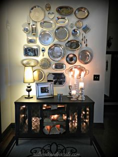 """I have been looking forward to this """"Thrift Store Silver Platter Wall"""" post for weeks. It's finally here, but unfortunately I feel like crap I'm fighting a bad cold or flu, or something. Lets just say I've been in my flannel PJ's all week, and my bedside table is one big tissue bouquet. Luckily, …"""