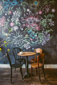 Have you ever thought about creating an entire #chalkboard wall?  Take a look at this beautiful #floral #design at a coffee shop!