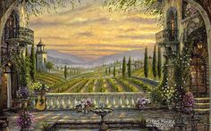 City of Romance : Robert Finale Paintings Wallpapers  - PoeticTuscany, Italy - Peaceful Cityscape Paintings 1600*1200  27