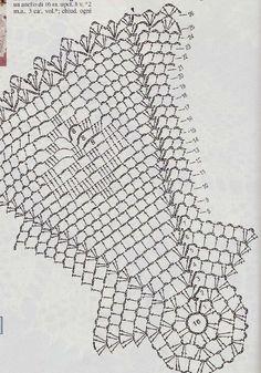 Centrini a uncinetto: schemi e modelli - Centrino ottagonale Crochet Mandala, Crochet Doilies, Crochet Lace, Crochet Designs, Crochet Decoration, Table Covers, Diy And Crafts, Bubbles, Rugs