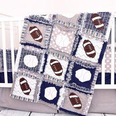 Baby Boy Sports Crib Size Rag Quilt for Nursery Crib Bedding | Etsy