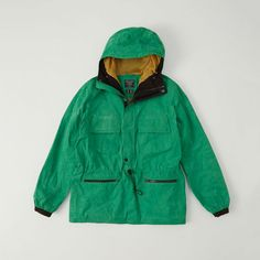 Abercrombie & Fitch Anorak Jacket ($120) ❤ liked on Polyvore featuring men's fashion, men's clothing, men's outerwear, men's jackets, green, mens green jacket, mens water resistant jacket, mens patch jacket, mens zip jacket and mens retro jackets