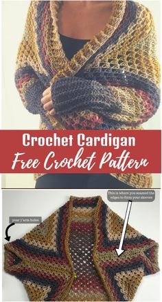 Crochet Cardigan Pattern Crochet Cardigan Pattern Free Pattern Always aspired to be able to knit, although not sure where do you start? Crochet Cocoon Pattern, Crochet Poncho Patterns, Crochet Shawls And Wraps, Knitting Patterns, Crochet Shrugs, Crochet Gratis, Free Crochet, Single Crochet Stitch, Crochet Woman