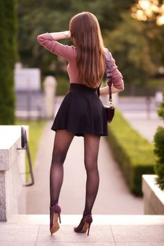 I Love Ariadna Majewska Sexy Outfits, Sexy Dresses, Girl Outfits, Fashion Outfits, Skirt Fashion, Sexy Skirt, Dress Skirt, Skater Skirt, Black Pantyhose