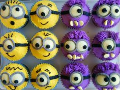 My version of minion cupcakes. Buttercream icing, choc melts for eyes, choc bits for teeth