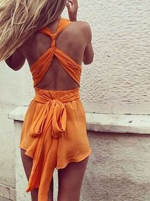 bac6bf034ae4 Orange Sleeveless Backless Playsuit Cute Pants
