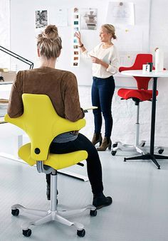 HAG Capisco chair. This European, contemporary modern HAG Capisco chair is perfect for those with back problems. The HAG Capisco saddle is ideal for variable height worksurfaces. All HAG Capisco ergonomic saddle chairs ship free.  HAG 8106 Capisco.
