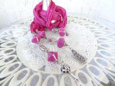 Fuchsia Scarf Necklace Jewelry Scarf Scarf Necklace Turkish