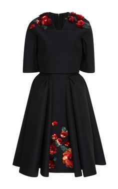 Embroidered Short Sleeve Jacquard Dress  by ZAC POSEN for Preorder on Moda Operandi