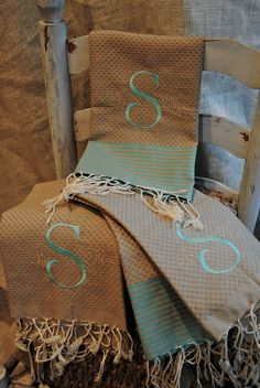 These gorgeous turkish type fouta towels are woven the same way they have been for centuries by Scents and Feel. Each measures 20 x 28 is made of Embroidery Monogram, Embroidery Applique, Machine Embroidery, Embroidery Designs, Guest Towels, Hand Towels, Monogram Gifts, Turkish Towels, Needlework