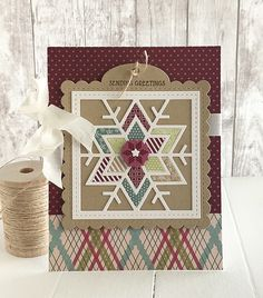 handmade quilt card from Homespun with Heart: Quilted: Winter + Tag Sale: Quilted die... .. luv the warm country look  ...