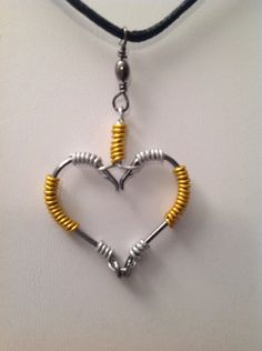 Fish Hook Pendant-Fishing Hook HEART two colors wire wrapped from my Etsy shop https://www.etsy.com/listing/212474591/fish-hook-necklacefishing-hook
