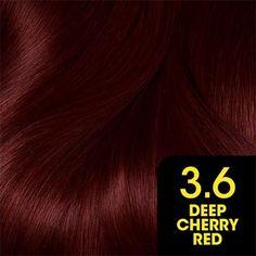 Olia by Garnier Deep Cherry Red - rote Frisuren Hair Color Shades, Hair Color Purple, Hair Dye Colors, Redish Brown Hair, Brown Hair Balayage, Dark Brows, Dark Red Lips, Feria Hair Color, Garnier Hair Color