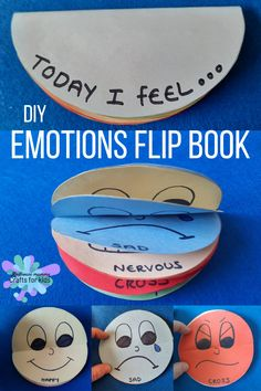 A sweet little craft to help children learn about and begin to understand the different emotions that we feel over time. Feelings Preschool, Teaching Emotions, Feelings Activities, Art Activities For Toddlers, Social Skills Activities, Preschool Learning, Preschool Activities, Feelings Book, Feelings And Emotions