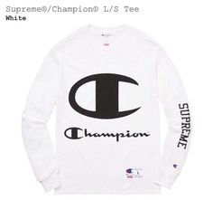 af5d44ba2235 SUPREME x CHAMPION L/S TEE Logo SS17 Medium White Brand New Sold Out Active
