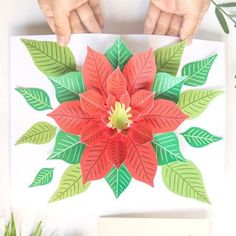 Make an unique DIY pop up Christmas card with a beautiful Poinsettia flower design! Fun & easy Christmas paper craft with free printable templates! – A Piece of Rainbow crafts for kids and family, Simple Christmas, Christmas Diy, Crochet Christmas, Christmas Angels, Jar Crafts, Crafts For Kids, Diy Fest, Poinsettia Flower, Christmas Paper Crafts