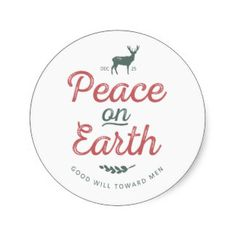 Peace on Earth Sticker - Red and Green