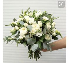 Bride's Bouquet roses, freesia, lisianthus and greenery. Could be made much looser Spring Wedding Bouquets, Bride Bouquets, Flower Bouquet Wedding, White Wedding Flowers, Bridal Flowers, Floral Wedding, Elegant Wedding, Deco Floral, Wedding Flower Arrangements