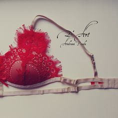 Red lace bralette, handmade with love