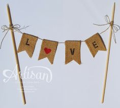 Love this cake topper made with the ABC-123 Sketched Alphabet and burlap ribbon.
