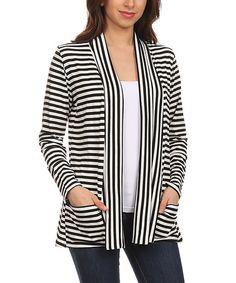 Black & White Stripe Pocket Open Cardigan - Plus #zulily #zulilyfinds