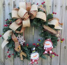 Holiday Wreath  Primitive Snowman Wreath   by HornsHandmade, $75.00