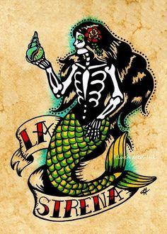 Mermaid American Traditional Tattoo