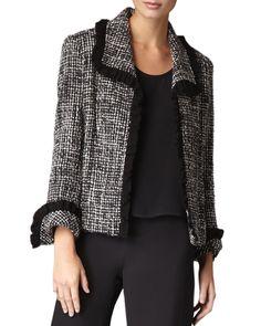 Tweed Jacket, Women's, Size: X-SMALL (4/6), Black/Grey/White - Caroline Rose