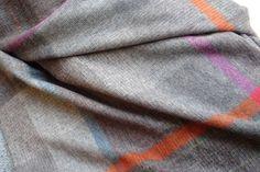 bronte merino lambswool throw - patchwork grey