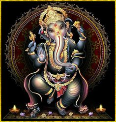 Lord Ganesha, Hindu Remover of Obstacles and Patron of the Arts. Arte Ganesha, Arte Shiva, Shiva Art, Hindu Shiva, Hindu Deities, Hindu Art, Krishna, Ganesha Pictures, Ganesh Images