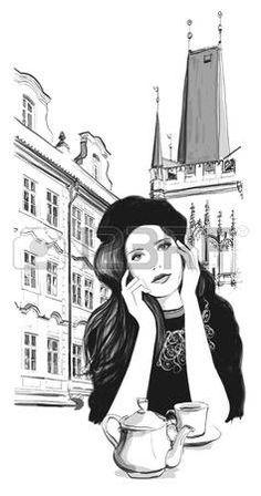 Week End in Prague - Joven mujer tomando el t� en un caf� - ilustraci�n…