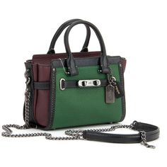 Coach Bags (5,545 MXN) ❤ liked on Polyvore featuring bags, handbags, shoulder bags, green burgundy, leather handbags, green leather purse, chain shoulder bag, green handbags and burgundy leather handbag